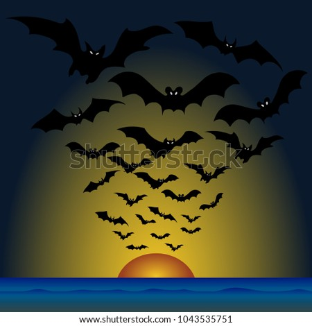 flock of bats at sunset  happy