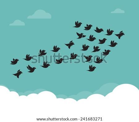 flock of birds flying in the