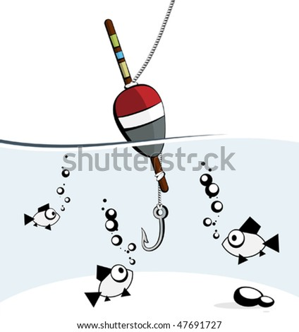 fishing hook clipart. fish looking at fish-hook