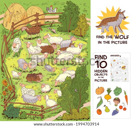 Flock of sheep in corral. Find the wolf among the sheep. Find 10 hidden objects in the picture. Puzzle Hidden Items. Funny cartoon character. Vector illustration