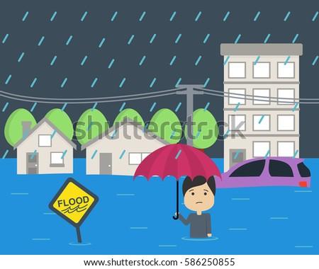 flood at city flat vector