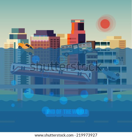 flood city   vector illustration