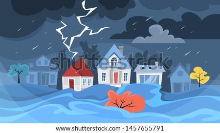 flood disaster concept storm