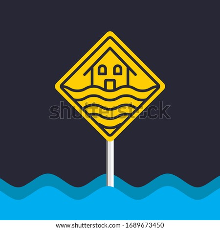 Flood house sign. Water. Vector Illustration. Stock photo ©
