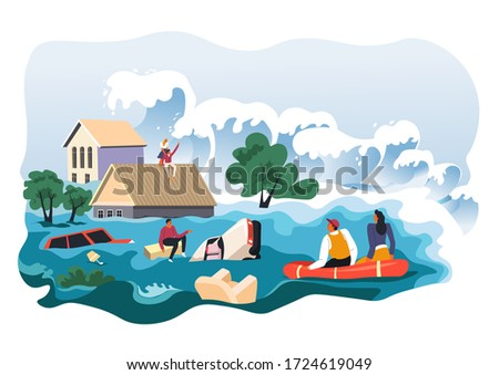 Flood with high waves damaging people and houses. Hurricane or storm caused by climate change. Wrecking properties of residents, tsunami killing person. Escaping from water on boats, vector in flat