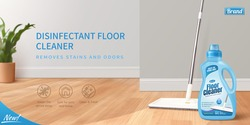 Floor cleaner ad banner in 3D design. Realistic package mock up with wet mop polishing the floor.