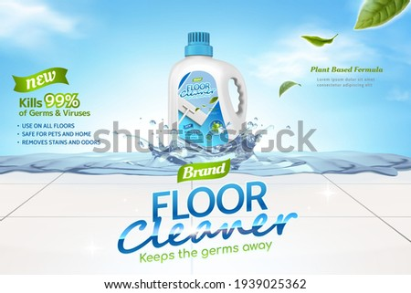 Floor cleaner ads, plant based formula of cleaner liquid with leaves elements and splashing water on tiled floor in 3d illustration, against sky background.