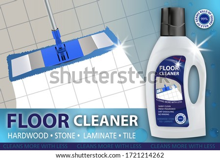 Floor cleaner. Disinfectant cleaner for washing floors. Mop cleaning. Package design realistic illustration. Advertisement poster layout or banner. Vector