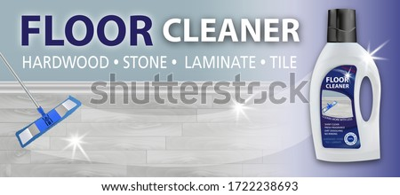 Floor cleaner. Disinfectant cleaner for washing floors. Mop cleaning. Package design realistic illustration. Advertisement poster layout or horizontal banner. Vector