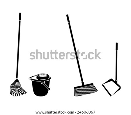 stock vector : floor cleaning objects black and white silhouettes