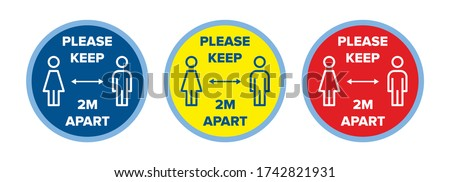 Floor decals social distancing stickers, 2m metres distance vector graphic. Sign or floor sticker. Red, yellow, blue. For use in Schools, Hospitals, Shops, Gym, Leisure, Retail. Coronavirus covid-19