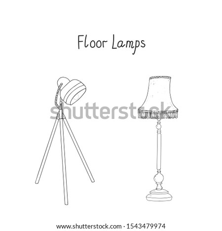 Floor Lamps vector set with inscription. Lampshade lamp and Tripod lamp. Hand drawn artistic sketch