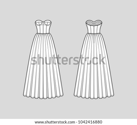 Floor-length corset bodice dress with panel lines, strapless neckline, cups, seam at waist, back zip clasp, flared skirt with pleats. Back and front. Technical flat sketch. Vector illustration.