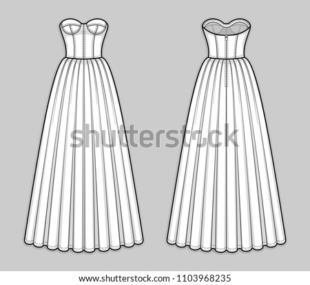 08db5e8bb71599 Floor-length corset bodice dress with panel lines, strapless neckline,  cups, seam · Dress one piece fashion vector illustration ...