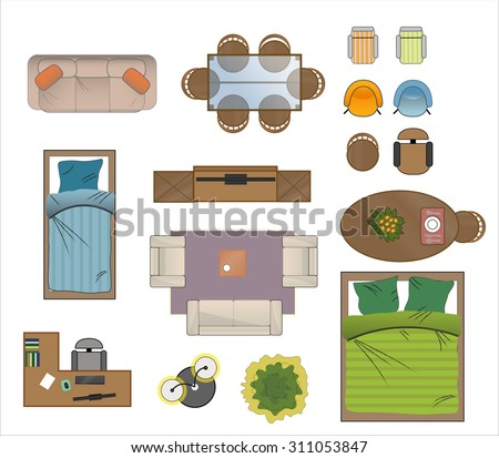 Floor plan furniture set vector illustration.