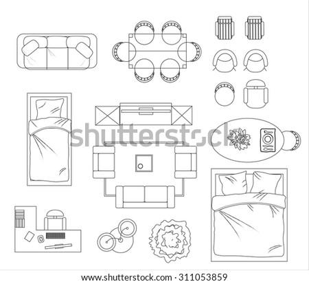 Floor Plan Furniture Set Vector Illustration