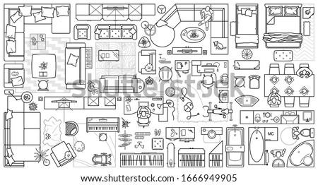 floor plan icons set for design