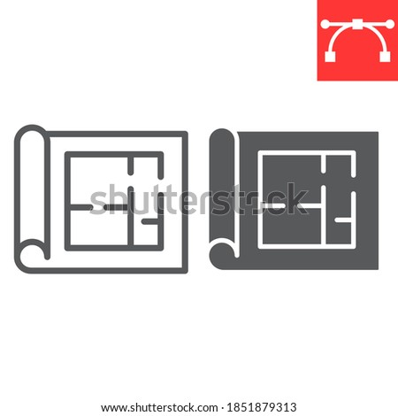 Floor plan line and glyph icon, architecture and blueprint, house plan sign vector graphics, editable stroke linear icon, eps 10 Foto stock ©