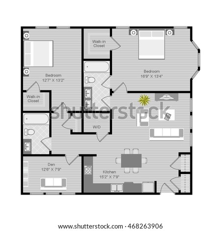 Floor plan vector illustration 2 bedroom 2 bath apartment 2 bhk flat drawing