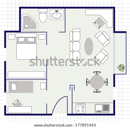 floor plan with furniture on the paper