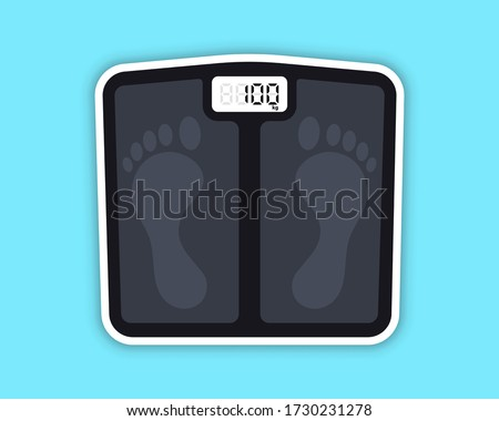 Floor scales. Floor scales for weighing body weight. Control of the weight, diet, gain or weight loss. Bathroom weight scale. Obesity after long-term quarantine Photo stock ©