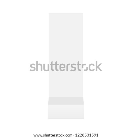 Floor standing advertising totem mock up - front view. Vector illustration