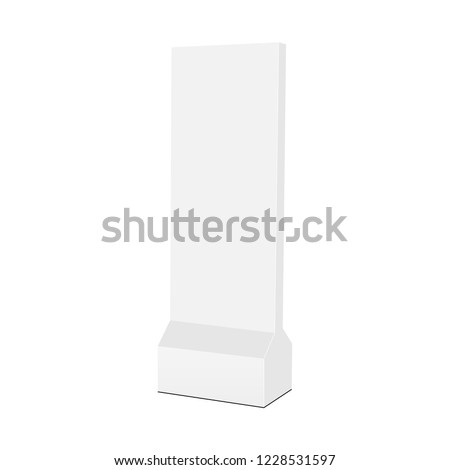 Floor standing advertising vertical totem mock up - half side view. Vector illustration