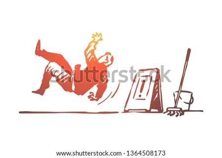 Floor, wet, caution, sign, slippery concept. Hand drawn man fell on the slippery floor concept sketch. Isolated vector illustration.