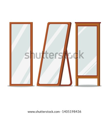 Floor wooden frames mirrors rectangular shapes set and isolated on white background. Hallway, bedroom interior design elements. Flat catroon style vector illustration.
