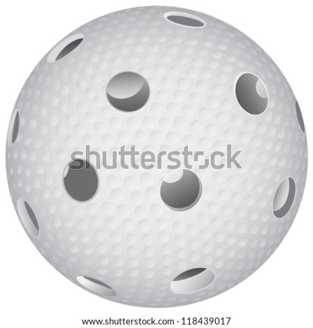 floorball ball on white background