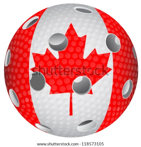 Floorball ball with the flag Canada