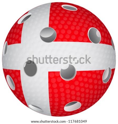 Floorball ball with the flag Denmark