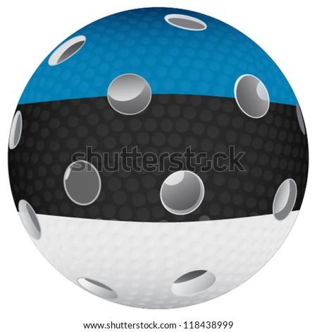 Floorball ball with the flag Estonia