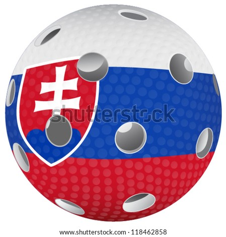 Floorball ball with the flag Slovakia republic