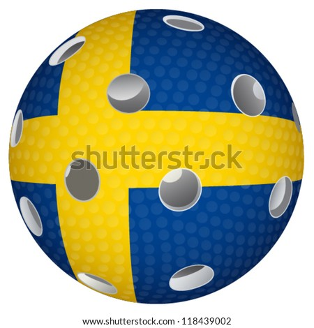 Floorball ball with the flag Sweden