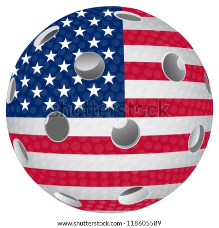 Floorball ball with the flag USA
