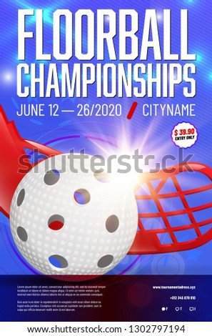 Floorball championships poster template with ball, stick, shines and sample text in separate layer - vector illustration