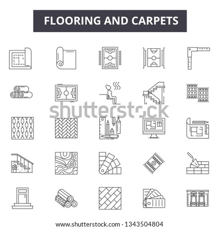Flooring and carpets line icons for web and mobile design. Editable stroke signs. Flooring and carpets  outline concept illustrations