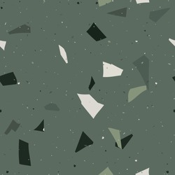 Flooring venetian terrazzo seamless pattern. Natural realistic stone imitation, marble confetti background. Vector  green, emerald surface texture of granite, concrete, mosaic tile, pebbles, quartz.