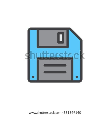 Floppy disk, diskette line icon, filled outline vector sign, linear colorful pictogram isolated on white. Save symbol, logo illustration