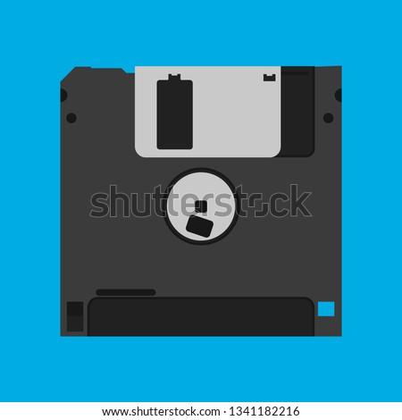 Floppy disk diskette vintage black backup device obsolete vector icon. Computer memory drive magnetic square datum