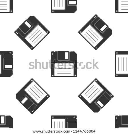 Floppy disk for computer data storage icon seamless pattern on white background. Diskette sign. Flat design. Vector Illustration