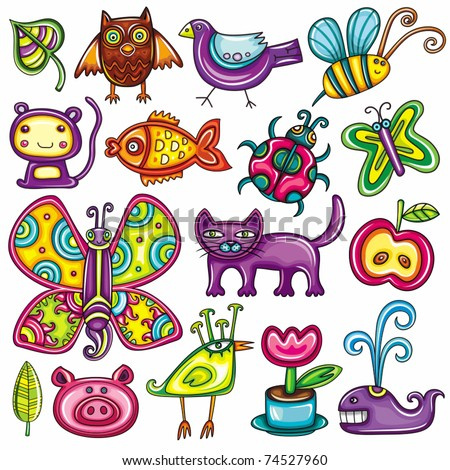 Flora and fauna theme. Cartoon vector set of colorful icons of animals, birds and plants. Doodle collection contains: leafs, owl, pigeon, bumblebee, monkey, goldfish, ladybug, butterfly, kitten, apple - stock vector