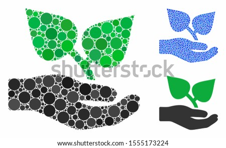 Flora care hand mosaic of round dots in variable sizes and color tinges, based on flora care hand icon. Vector dots are composed into blue mosaic.