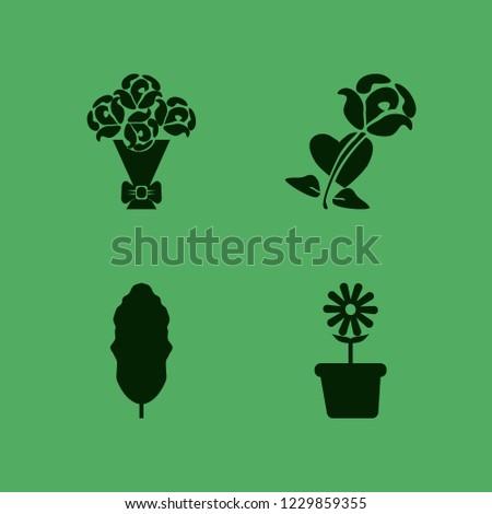 flora icon. flora vector icons set rose heart, leaf, rose bouquet and flower pot