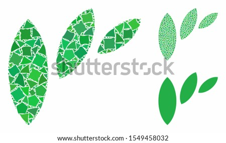 Flora leaf abstraction composition of trembly parts in various sizes and color hues, based on flora leaf abstraction icon. Vector humpy parts are grouped into composition.