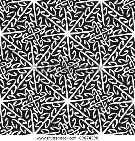 Floral abstract black-white background, seamless repeat pattern
