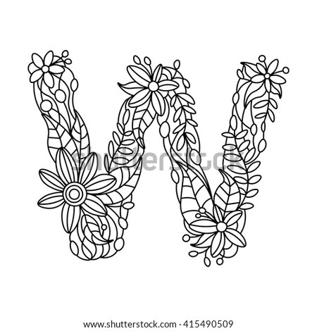 Floral Alphabet Letter Coloring Book For Adults Vector Illustration 415490509