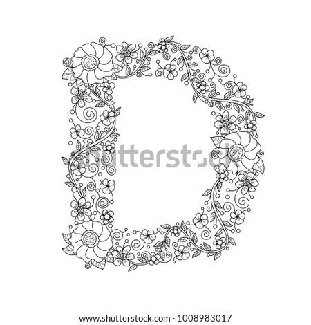 Floral Alphabet Letter D Coloring Book For Adults Vector IllustrationHand DrawnDoodle
