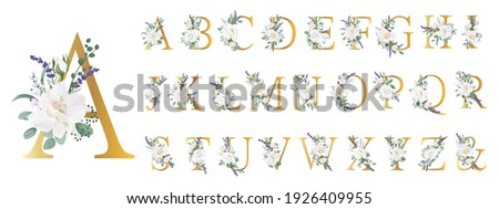 Floral Alphabet. Set letters with botanical bouquet. Wedding invitations, greeting card, birthday, logo, poster other ideas. Vector illustration.